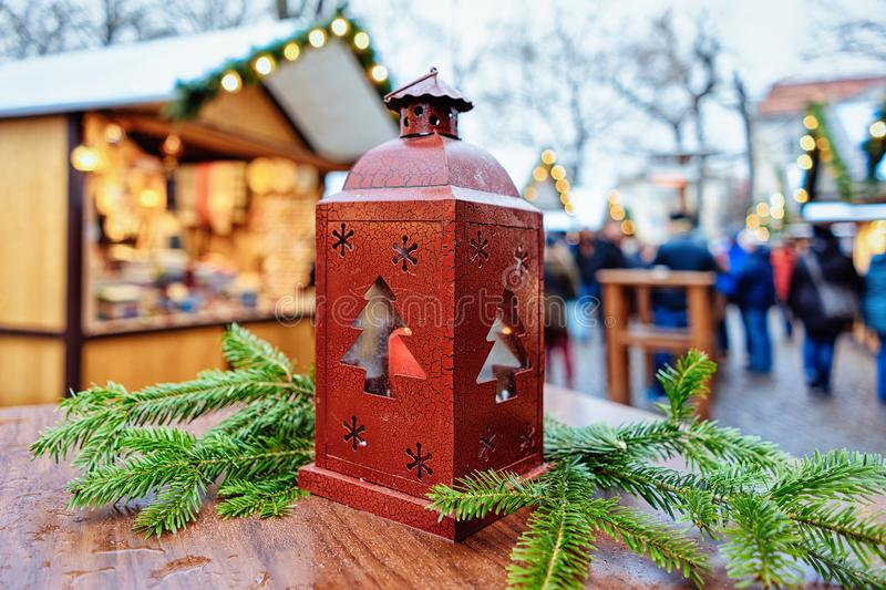 Street Lantern in Christmas Market at Gendarmenmarkt square in Winter Berlin, Germany. Advent Fair Decoration and Stalls with the royalty free stock image