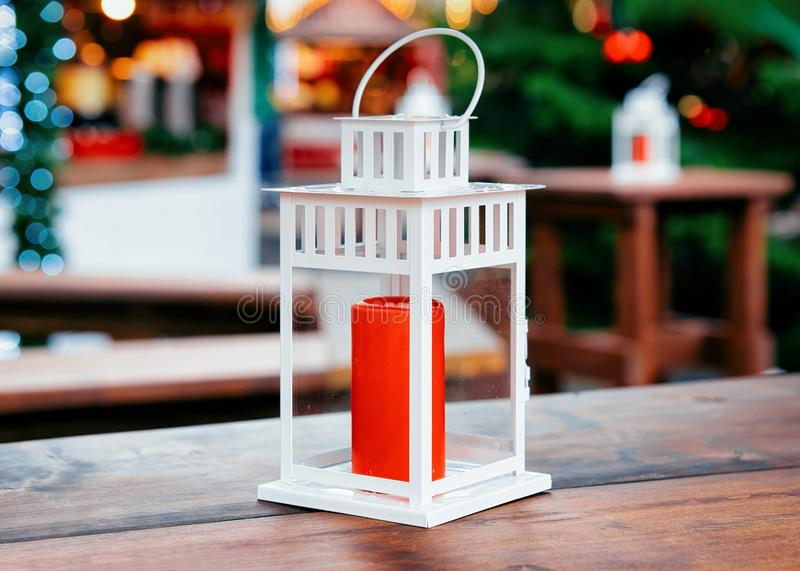 Street Lantern at Christmas Market at Kaiser Wilhelm Memorial Church in Winter Berlin, Germany. Advent Fair Decoration and Stalls stock photo