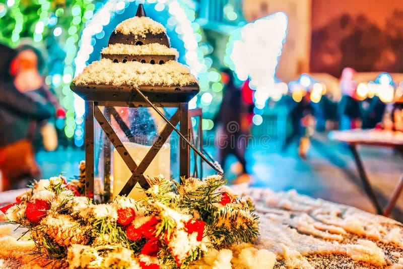 Street lantern on Christmas market in Vilnius stock image