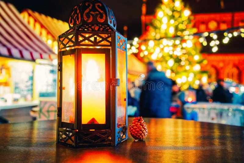 Street lantern in Christmas market winter Riga in Latvia royalty free stock image