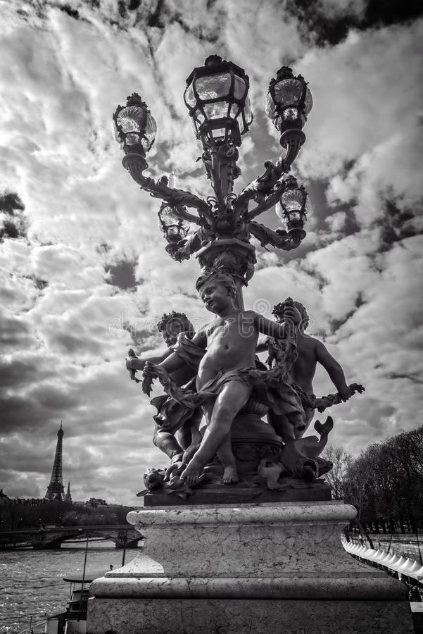 Free Street Lantern From Year 1900 On Bridge Alexandre III, The River Seine And The Eiffel Tower, Paris France, Black And White Photog Royalty Free Stock Photography - 113720907
