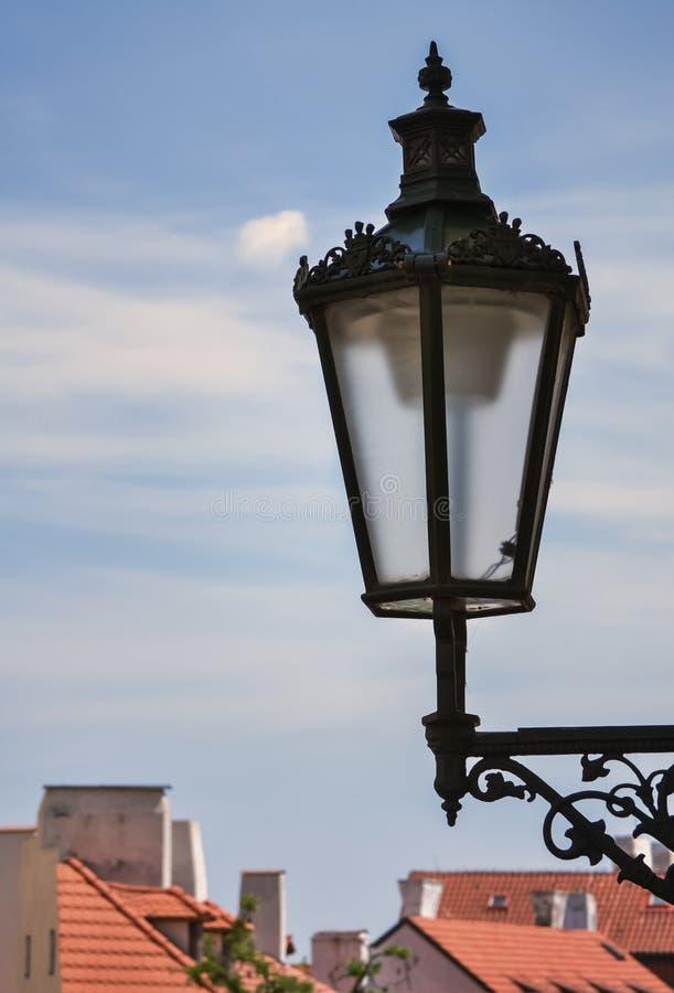 Street lantern in Prague stock photo