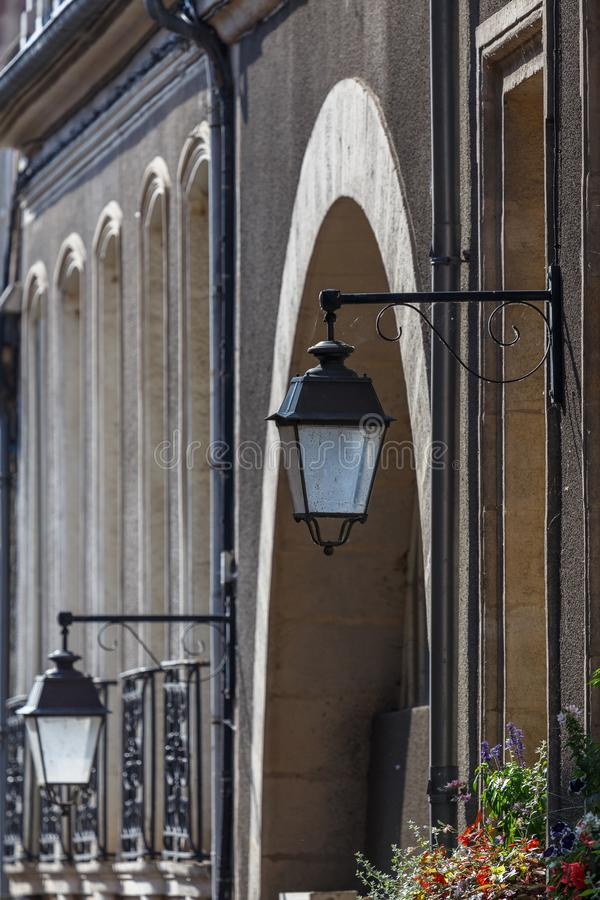 Street lanterns in the historic Avallon town. France stock image