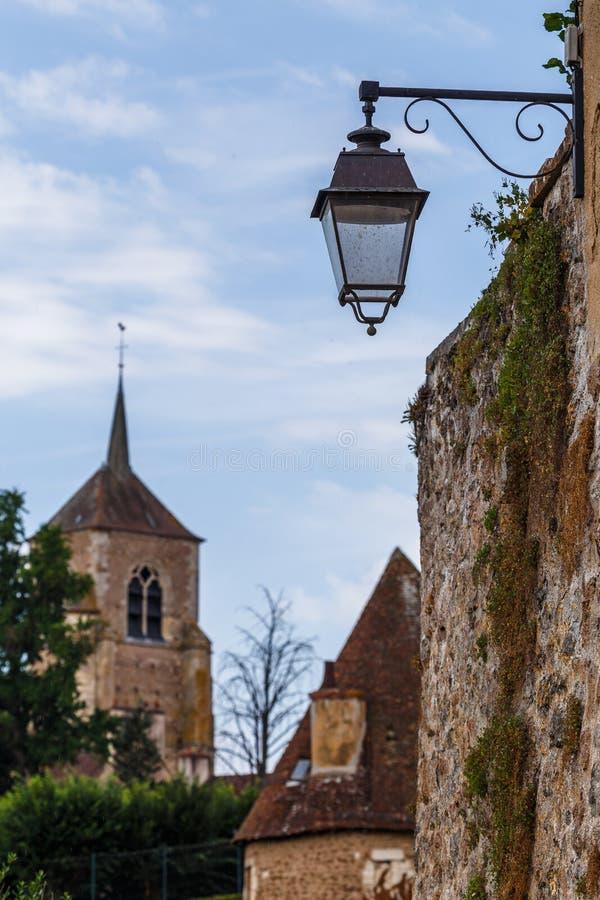 Street lanterns in the historic Avallon town. France stock photos