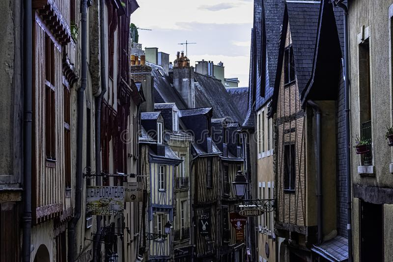Street of Le Mans Old Town with vintage architecture in Le Mans, France stock photos
