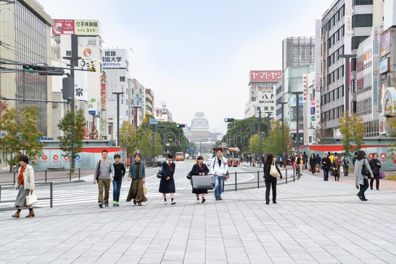 Street lead to Himeji castle, Japan royalty free stock photos