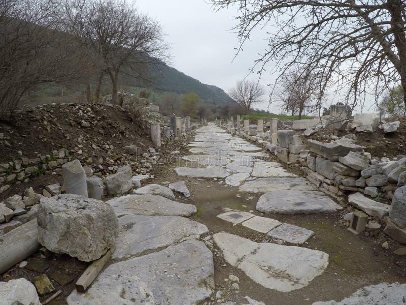 Street leading past the agora, Ephesus, Turkey royalty free stock images