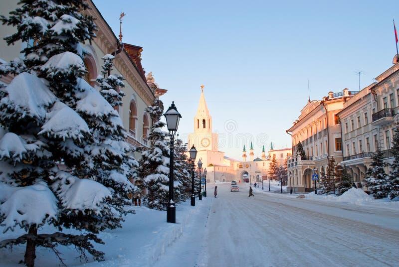 Street leading to the Kremlin in Kazan royalty free stock photo