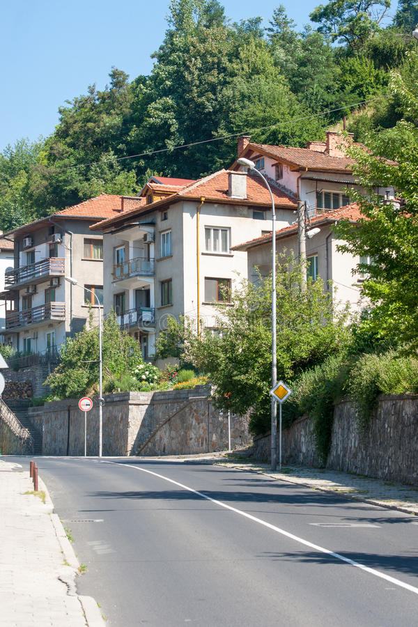 Street leading to the mountain in the town of Smolyan in Bulgaria royalty free stock photography