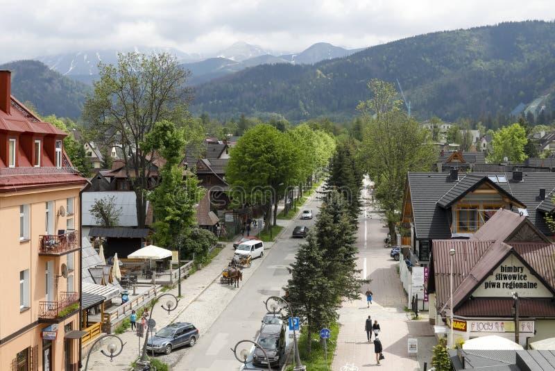 The street leading to the mountains stock photo