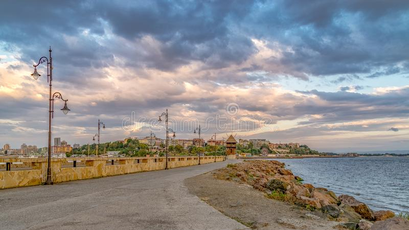 A street leading to Nessebar ancient city at sunrise, one of the major seaside resorts on the Bulgarian Black Sea Coast. Nesebar royalty free stock photo