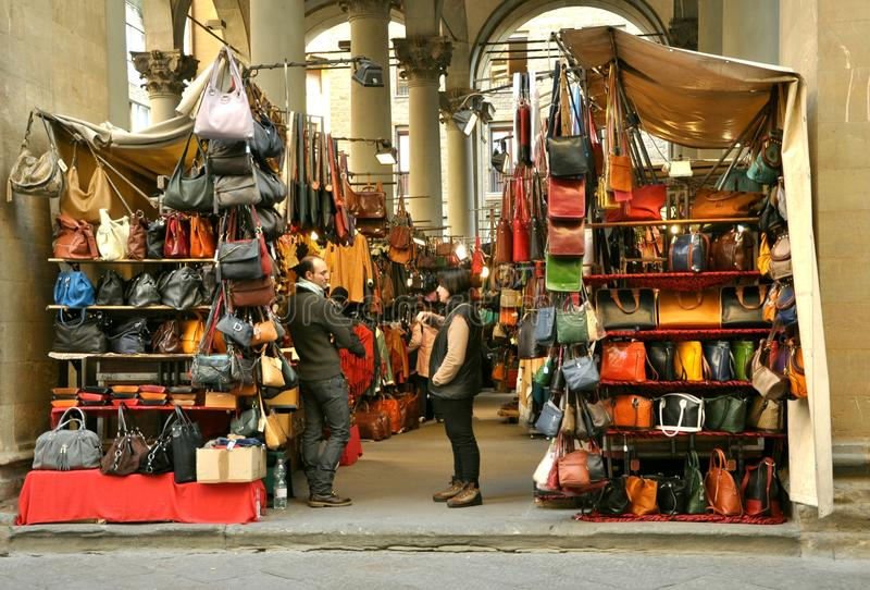 Street leather market in Florence, Italy royalty free stock image
