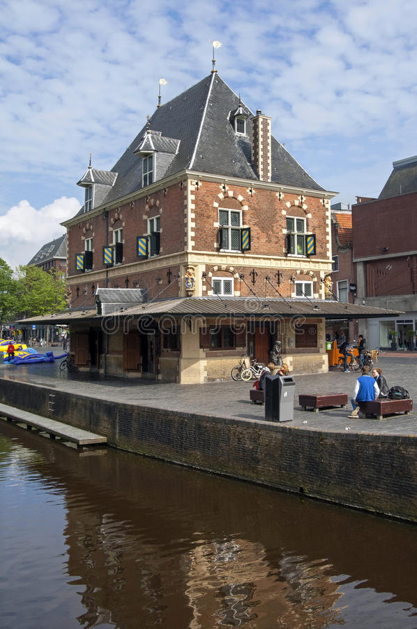 Street life in city Leeuwarden, Netherlands royalty free stock image