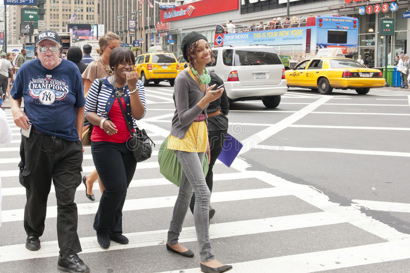 Street life New York. Street life in New York in summer royalty free stock photo
