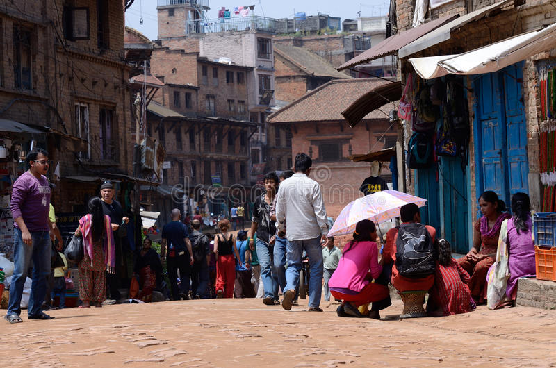 Street life in old city center of Patan,Nepal royalty free stock photos