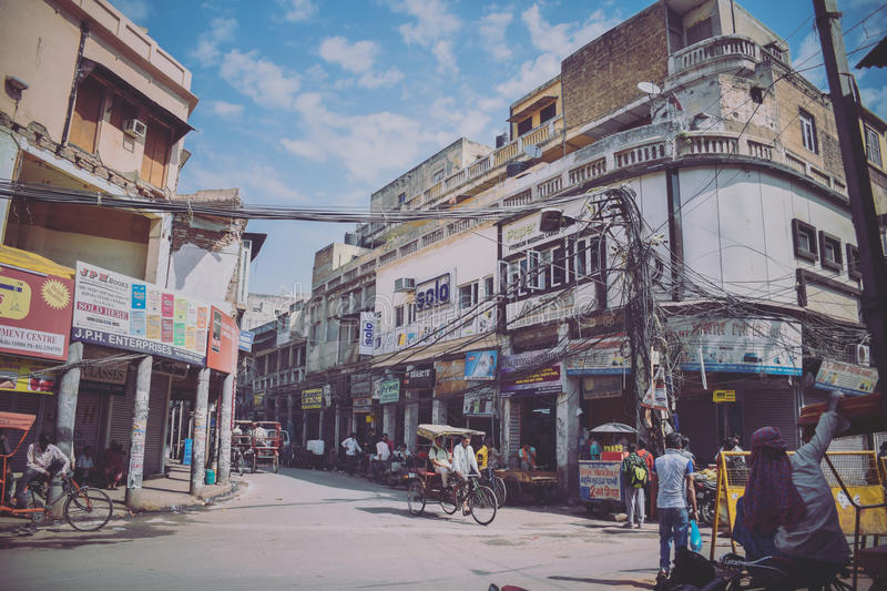 Street Life in Old Delhi, India stock photography