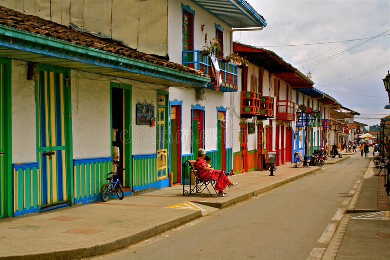 Street Life in Salento, Coffee Region, Colombia. Street lined with colorful colonial houses of Salento near Armenia in the Quindio department in Colombia´s stock photo