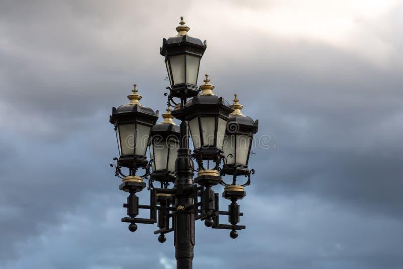 street light against the blue sky stock photos