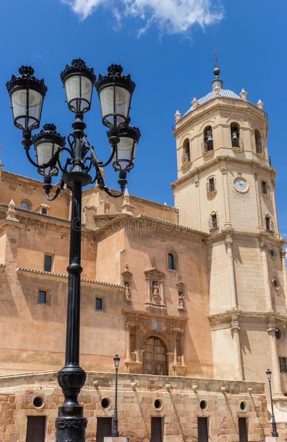Free Street Light And Tower Of The San Patricio Church In Lorca Royalty Free Stock Images - 163517499