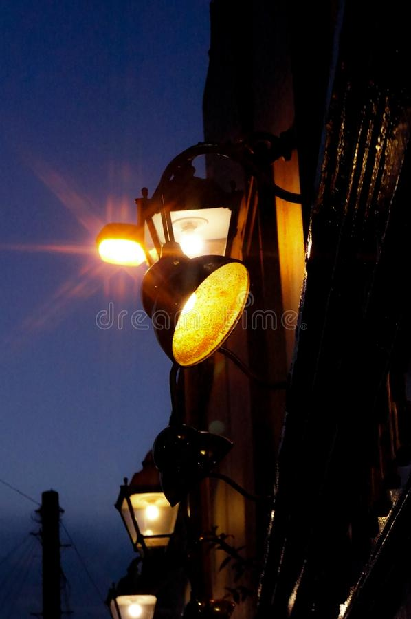 Street light in the dark stock photos
