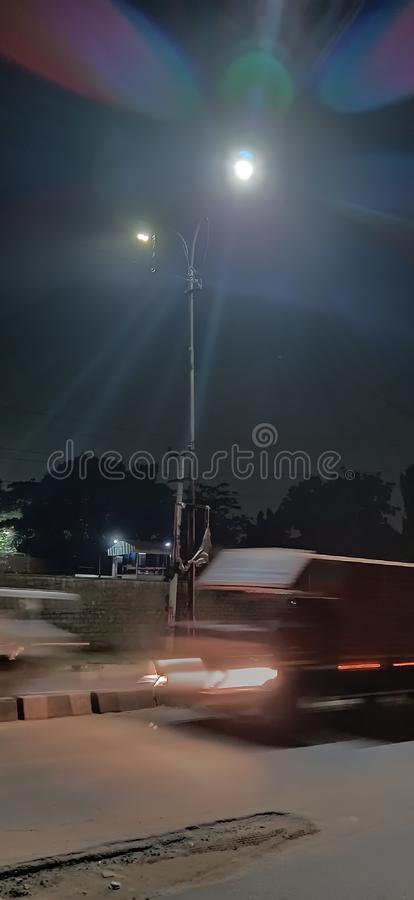 Street light highway road night captured royalty free stock images