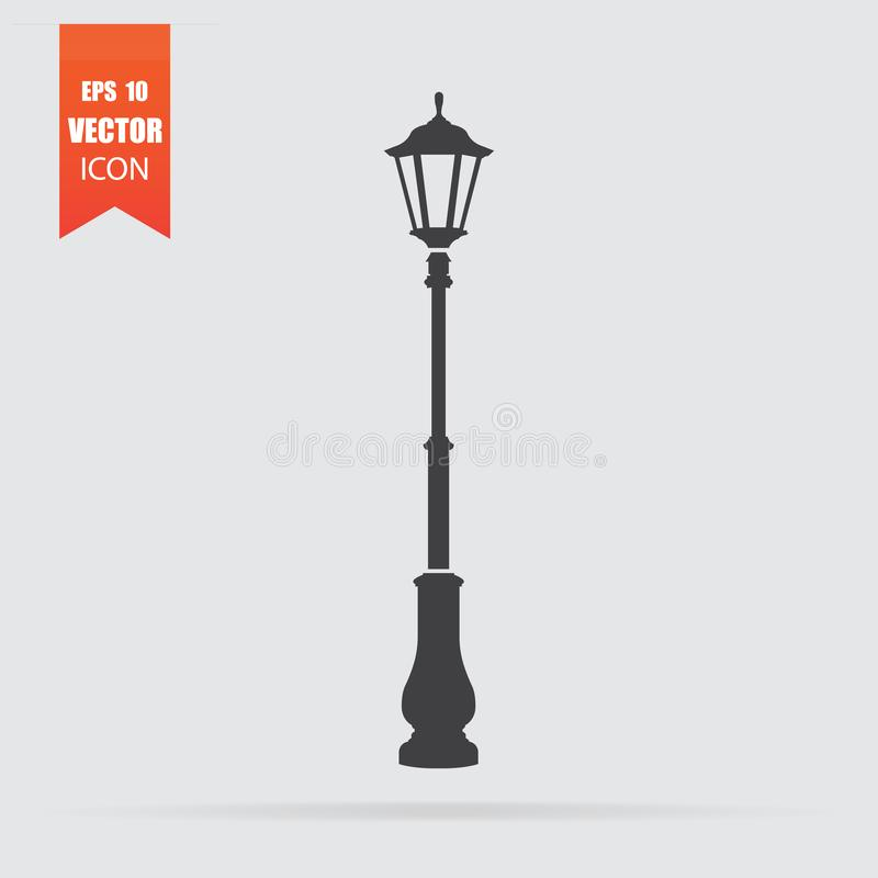 Street light icon in flat style isolated on grey background royalty free stock photo