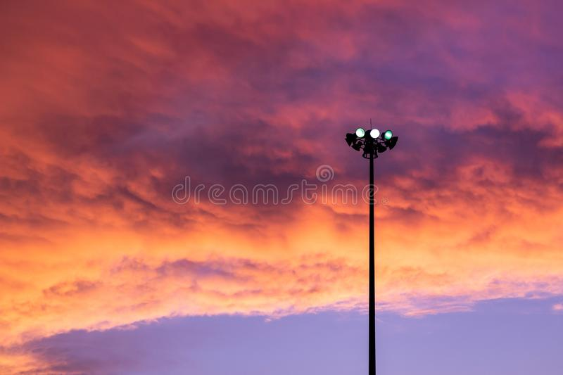 Street light isolated with amazing sky background. stock images
