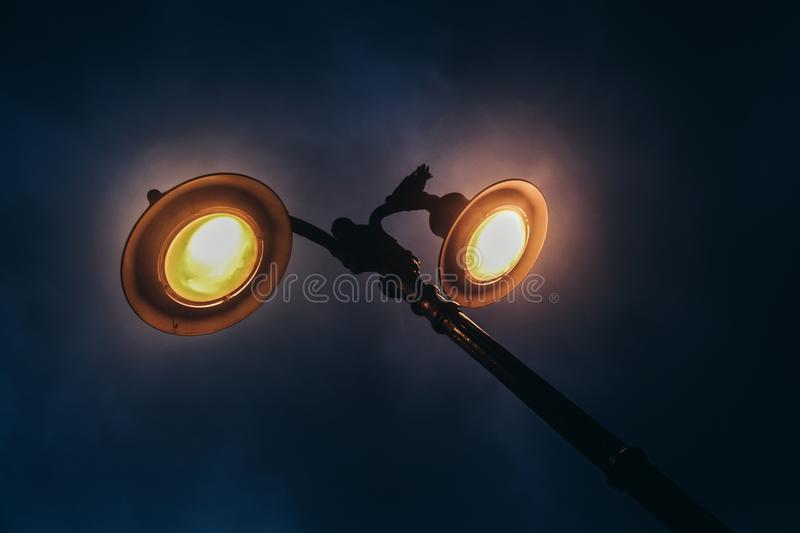 Street light at 6 in the morning royalty free stock image