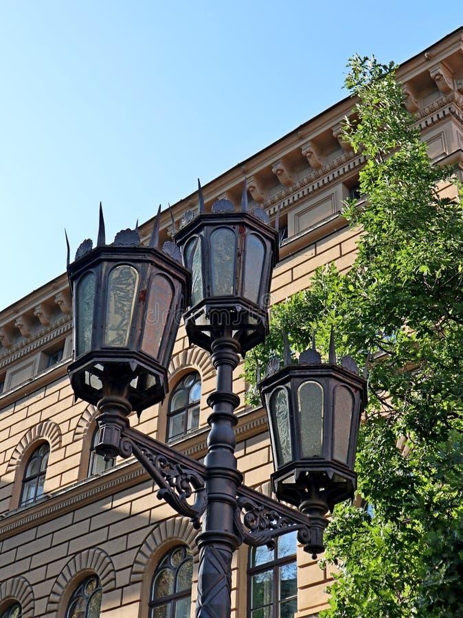 Street light old metal details decoration exterior on streets stock image
