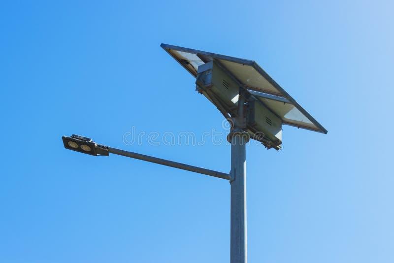 Street light with solar panel. LED lamp renewable energy royalty free stock photo