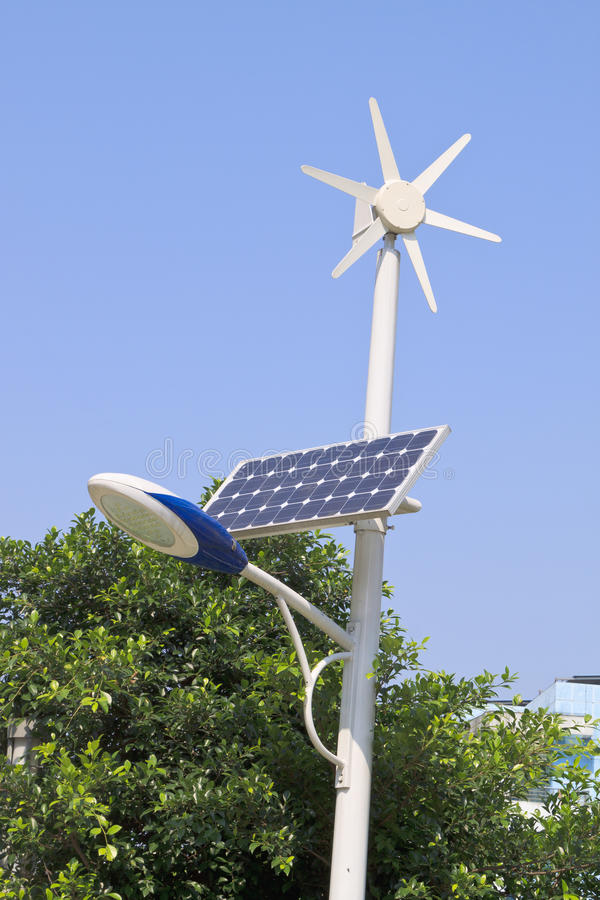 Street light with solar and wind power plant stock photography