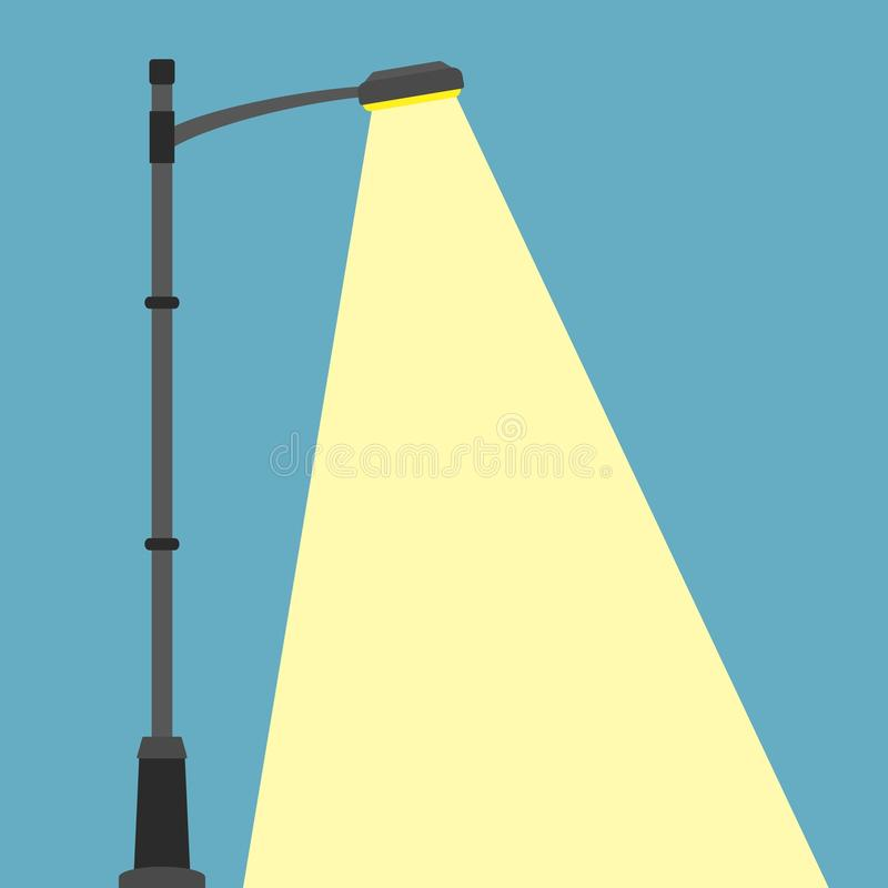 Street lighting flat banner. City night street light with light from streetlight lamp. Outdoor Lamp post in flat style stock image