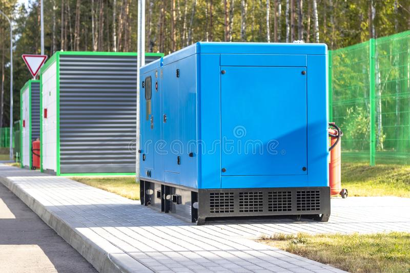 Street lighting. industrial generator that generates current. reserve. House, internet, technology, standby, power, alternate, diesel, electrical, electricity stock images