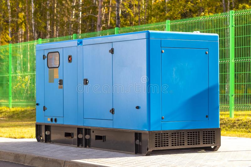 Street lighting. industrial generator that generates current. reserve. House, internet, technology, standby, power, alternate, diesel, electrical, electricity stock photo