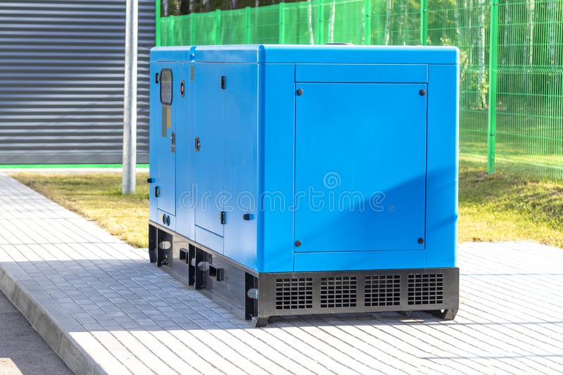 Street lighting. industrial generator that generates current. reserve. House, internet, technology, standby, power, alternate, diesel, electrical, electricity royalty free stock images