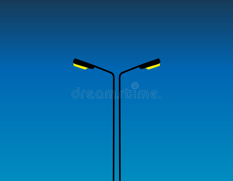Street Lights. Vector Illustration: Street lights in the night royalty free illustration