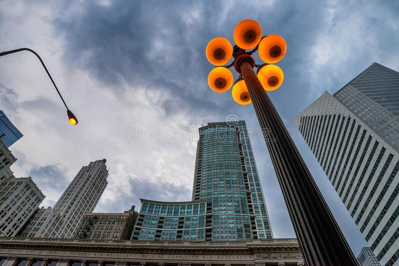 street lights in downtown of chicago stock photo image of dusk