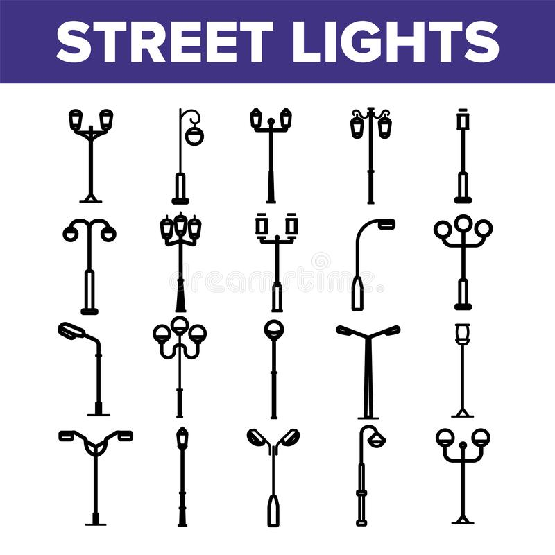 Street Lights Linear Vector Thin Icons Set vector illustration