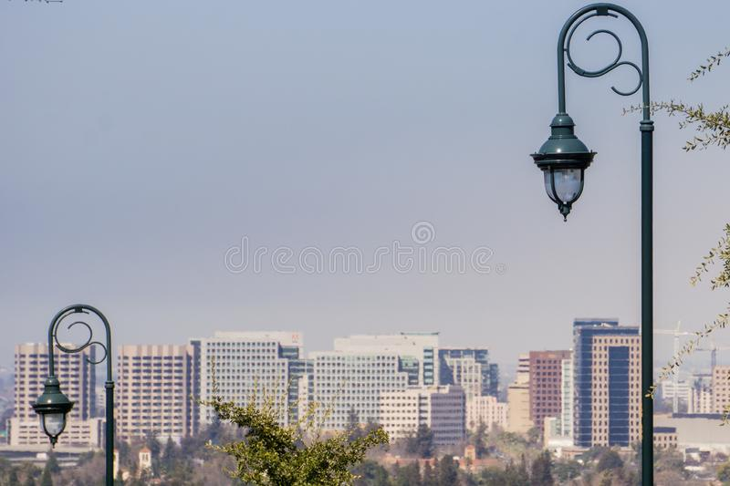 Street lights, San Jose downtown on the background, south San Francisco bay, Silicon Valley, California stock photos
