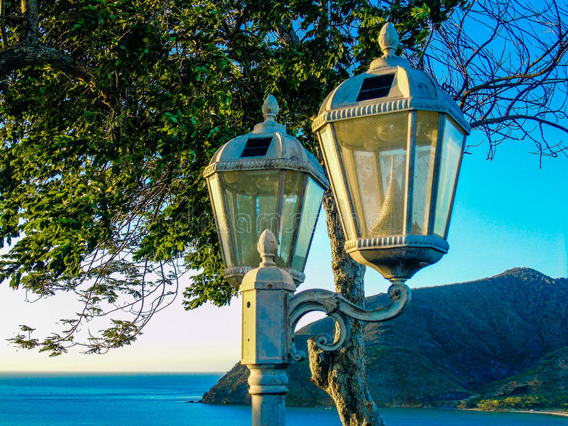 Street lights in the shore stock photography