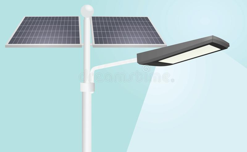 Street lights solar panels. Vector stock illustration