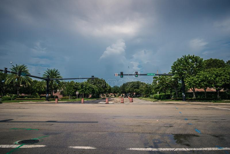 Street in local city closed for construction in Hurricane Dorian. Florida Hurricane Season 2019. Coral Springs, Florida/USA - August 31, 2019: Street in local royalty free stock images