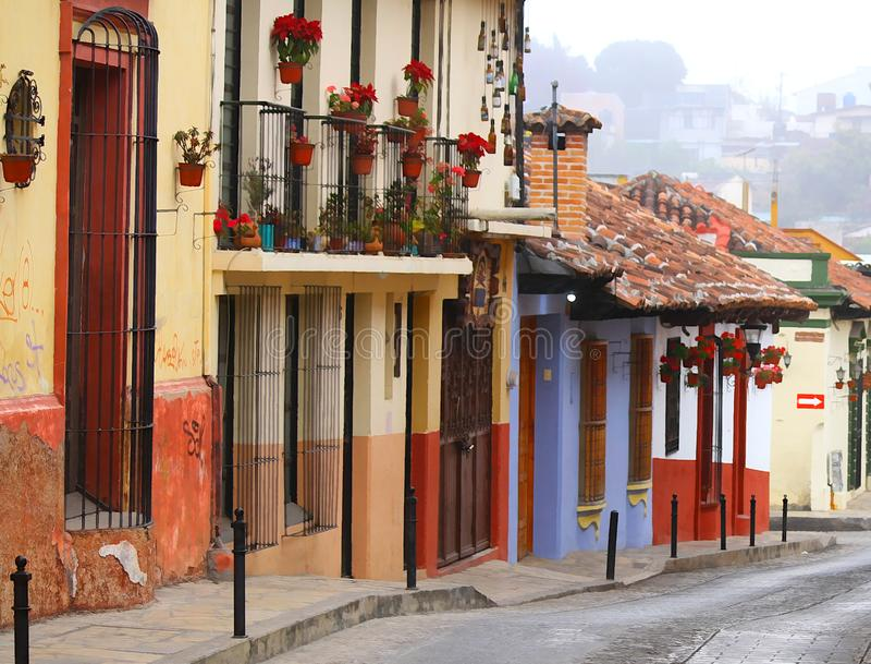 Street located in San Cristobal de las Casas, Chiapas, Mexico. royalty free stock images