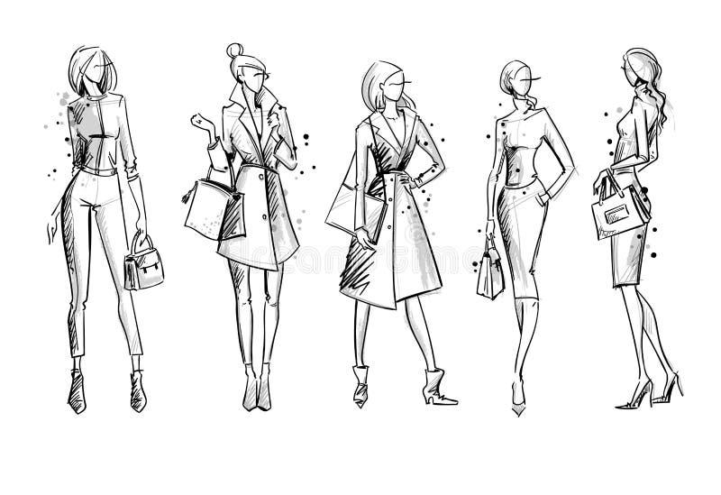 Street look. Fashion illustration, vector sketch vector illustration