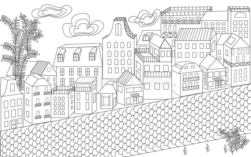 Street, a lot of houses, buildings, an ornament for adults, style lines, city street. Paving stones, city district, shops, houses, clouds, trees, black and stock illustration