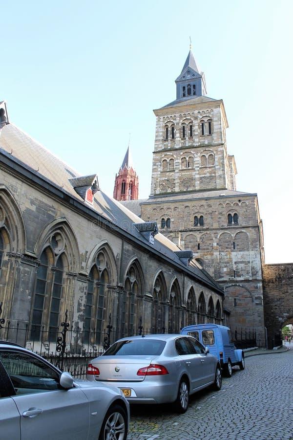Street in Maastricht - Basilica of Saint Servatius stock image