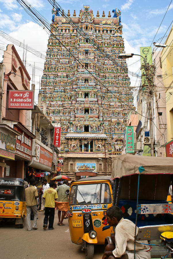 Street in Madurai with a view on Meenakshi temple. Street leading to Minakshi temple in Madurai, Tamilnadu, is one of the most famous temples of Shiva and his royalty free stock image