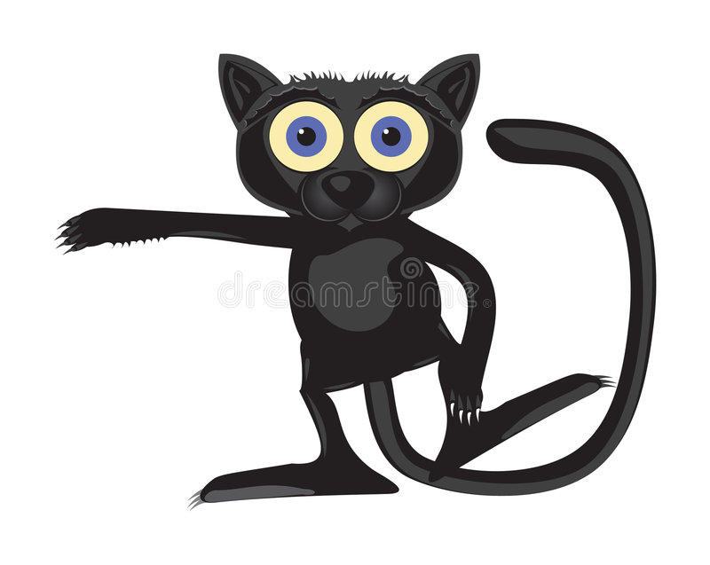 Street Magic cat. Black street magic cat extended the right paw stock illustration