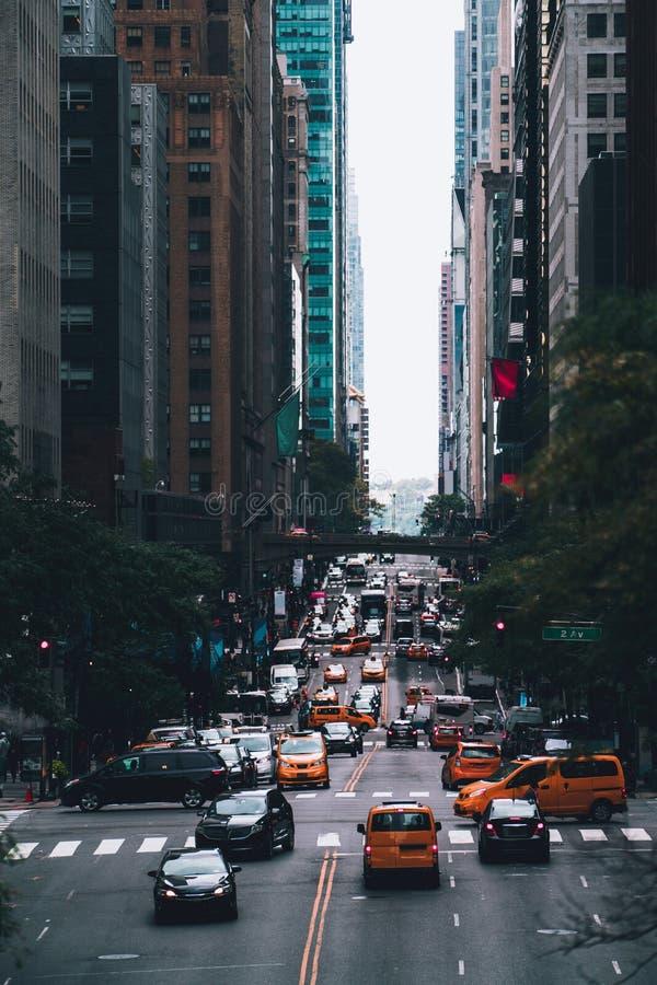 Street of Manhattan in New York. City street scene with traffic. NYC USA stock photo