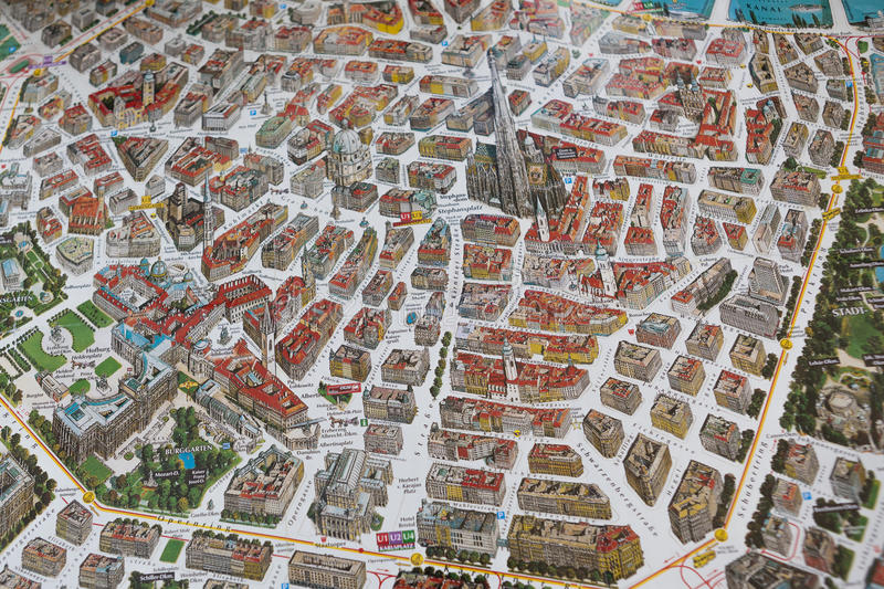 Street Map With Buildings Of Vienna Stock Image Image of